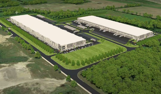 The plans for the Huron Townshipproperty, whichincludes 350 acres of county-owned land and the 300-acre former Pinnacle Race Course site, include two storage or warehouse-type buildings shown in a rendering here.