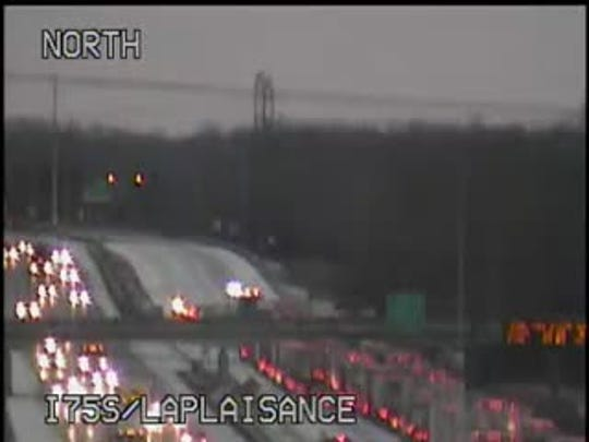MDOT cameras show the northbound standstill in the early hours.