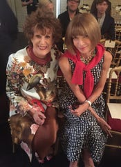Fashion collector Sandy Schreier at the Paris Couture week earlier this year with Anna Wintour, Vogue editor-in-chief.