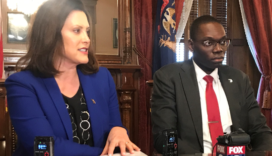 Gov. Gretchen  Whitmer and Lt. Gov. Garlin Gilchrist speak to reporters on Wednesday, Dec. 18, 2019, during a year-end interview.