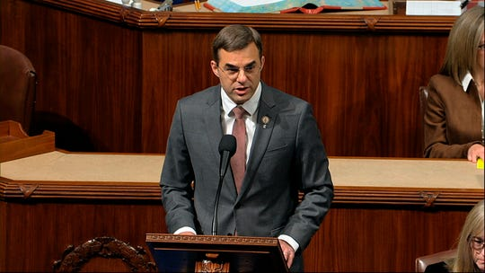 Rep. Justin Amash, I-Mich., speaks as the House of Representatives debates the articles of impeachment against President Donald Trump.