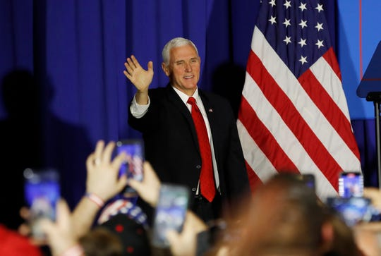 Vice President Mike Pence addresses a Workers for Trump event Wednesday in Saginaw.
