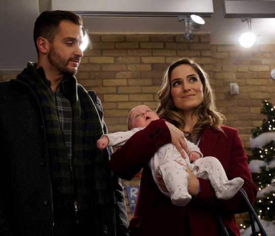 "Michael Morrone and Monica Knox star in ""Baby in a Manger."" They play a police officer and Child Protective Services agent, respectively, who don't see eye-to-eye on what to do with an abandoned baby. Image courtesy of Brain Power Studio."