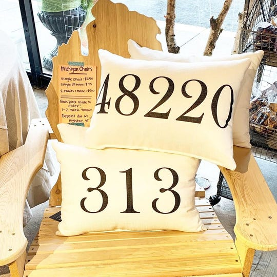 """Want to show your love for the """"313"""" with a pillow? Zip and area code pillows are available at Whimsical Wit in Ferndale."""