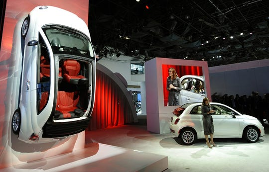 The Fiat North America CEO Laura Soave introduces the 2012 Fiat 500 during the 2011 New York International Auto Show in New York in this April 21, 2011, file photo.