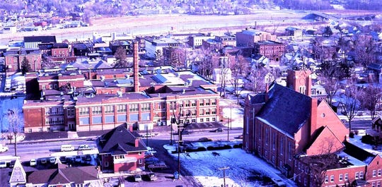 An aerial taken from St. Joseph Catholic Church in 1977-78.