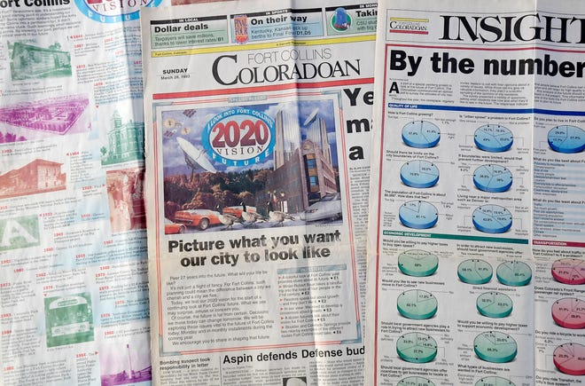"""In 1993, the Coloradoan asked residents what they thought Fort Collins would look like in 2020. These pages were part of that series, entitled """"2020 Vision: A Look into Fort Collins' Future."""""""