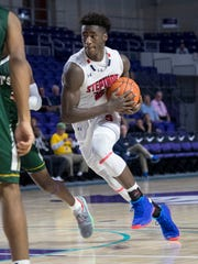 Adrian Griffin Jr. of Archbishop Stepinac looks for an open teammate against Briarcrest Christian in the opening game of the 2019 City of Palms Classic on Wednesday, Dec. 18, 2019, in Fort Myers. Stepinac won the game 69-62.