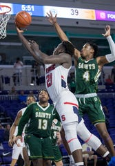 Adrian Griffin Jr. of Archbishop Stepinac goes up for a shot against Briarcrest Christian in the opening game of the 2019 City of Palms Classic on Wednesday, Dec. 18, 2019, in Fort Myers. Stepinac won the game 69-62.