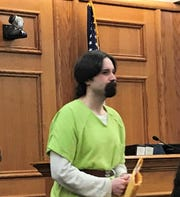 Jeremy Hoover of Sobieski enters Oconto County Circuit Court on Wednesday, Dec. 18, to be sentenced  for second degree sexual assault of a child and possession of child pornography.