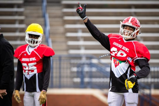 Greenville High School's Jalen Tate during practice at Spartanburg High School Tuesday, December 17, 2019, as the South Carolina team prepares for the Shrine Bowl on Saturday.