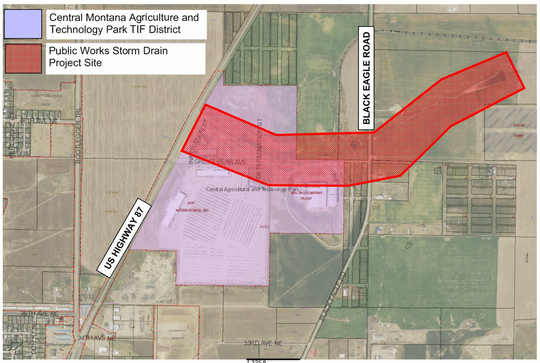 Red shows the location of the storm drain project in the Central Montana Agriculture and Technology Park.