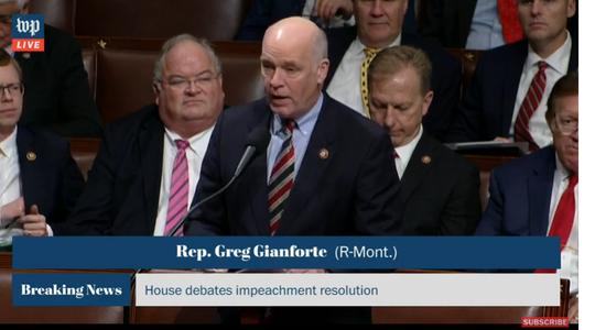 Rep. Greg Gianforte, R-Mont., speaks Wednesday on House floor against impeachment of President Donald Trump.