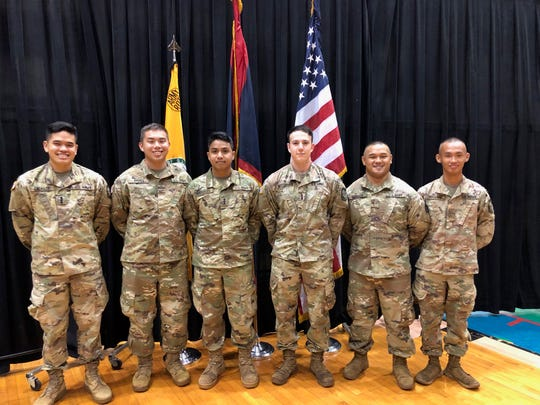University of Guam ROTC cadets (from left) Christopher Andrada, Corey Ayuyu, Henry Sandbergen, Michael Schommer, Collin Babauta, and Justine Mallari will be commissioned as U.S. Army officers this Saturday.