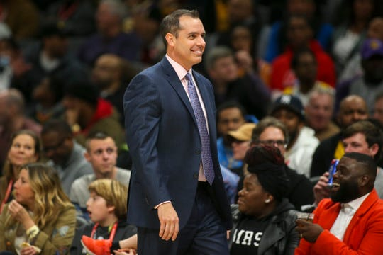 Dec 15, 2019; Atlanta, GA, USA; Los Angeles Lakers head coach Frank Vogel shows emotion against the Atlanta Hawks in the second quarter at State Farm Arena.