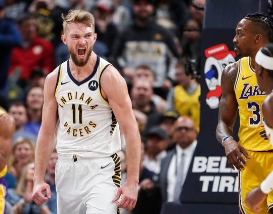 Indiana Pacers forward Domantas Sabonis (11) yells after scoring a layup at Bankers Life Fieldhouse, Indianapolis, Saturday, Dec. 17, 2019. The Indiana Pacers defeated Los Angeles Lakers, 105-102.