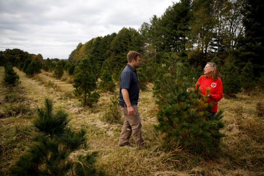 James Farmer and Jeanne Hopwood talk at Hopwood's Christmas tree farm outside of Bloomington in October.