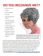 This undated image provided by the Harrison County Sheriff's Office and released Monday, Dec. 16, 2019, shows a poster with a sketch of a woman believed to be a victim of confessed serial killer Samuel Little. Authorities in Mississippi are asking for the public's help in identifying the victim and are using the sketch that was drawn by Little.