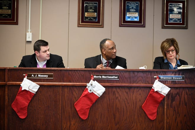JMCSS board members A.J. Massey, Morris Merriweather and Shannon Stewart during the Dec. 12, 2019 board meeting