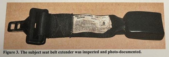 A photograph contained in court records shows the seat belt extender at issue in the case.