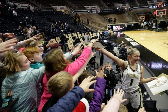 Purdue guard Karissa McLaughlin (1) signs autographs after defeating Western Kentucky, 67-50, Wednesday, Dec. 18, 2019 at Mackey Arena in West Lafayette.
