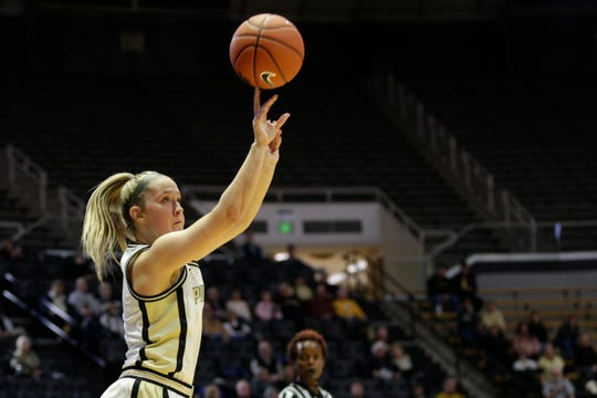 Purdue guard Karissa McLaughlin (1) shoots during the second quarter of a NCAA women's basketball game, Wednesday, Dec. 18, 2019 at Mackey Arena in West Lafayette.