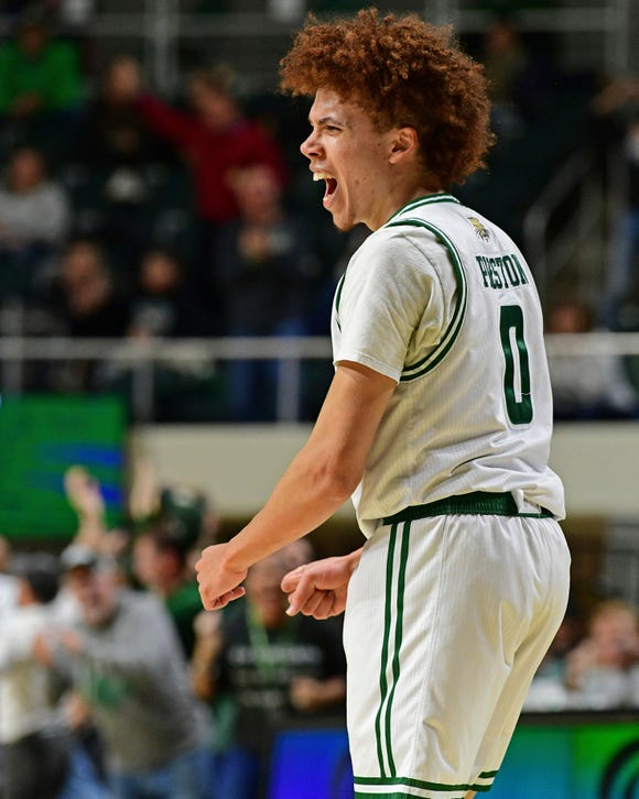 Ohio guard Jason Preston (0) reacts after forcing a Purdue turnover during the second half of an NCAA college basketball game, Tuesday, Dec. 17, 2019, in Athens, Ohio. Purdue won 69-51. (AP Photo/David Dermer)