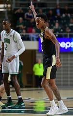 Purdue guard Eric Hunter Jr. celebrates after hitting a 3-point shot during the first half of an NCAA college basketball game against Ohio, Tuesday, Dec. 17, 2019, in Athens, Ohio. (AP Photo/David Dermer)