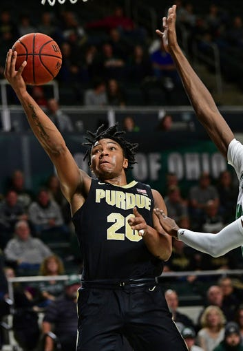 Purdue guard Nolan Eastern (20) goes to the basket during the first half of an NCAA college basketball game against Ohio, Tuesday, Dec. 17, 2019, in Athens, Ohio. Purdue won 69-51. (AP Photo/David Dermer)