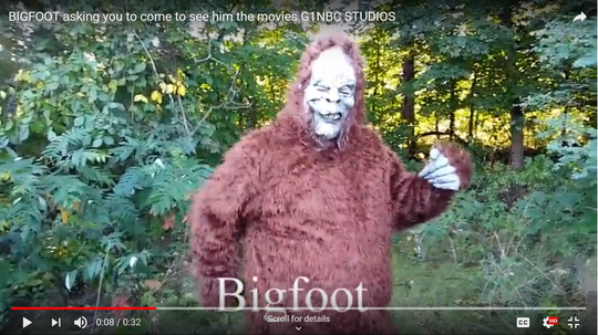 """Erik Fiesner plays Bigfoot in an upcoming spoof movie produced by G1NBC Studios and Daletec Studios, as seen in this still from a promotional video for """"BigFoot of Island Lake."""""""