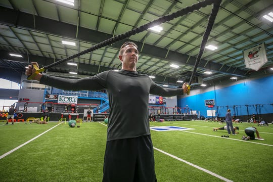 New York Yankees reliever Chad Green works out at Norton Sports Health Performance & Wellness Center. The former Cardinal pitcher has a home in Louisville with his wife, Jenna, and they come here in the off season to train.