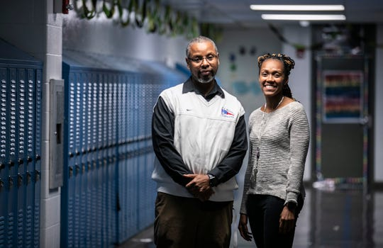 Ricky Owens has been at Thomas Jefferson Middle School for 25 years. Teela Scrubbs is a seventh grade counselor who is the school's racial equity leader. Dec. 18, 2019