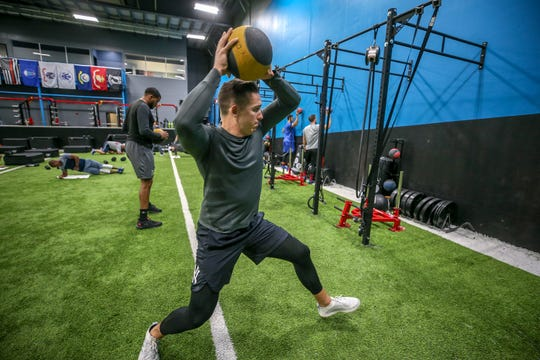 New York Yankees reliever Chad Green works out at Norton Sports Health Performance & Wellness Center.