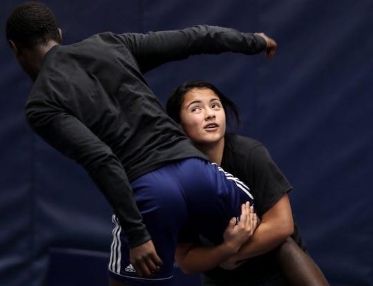 Moore's Maria Martinez practices on Nov. 18, 2019.