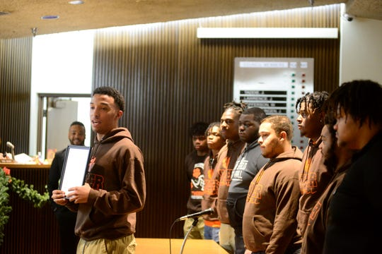Mansfield Senior High's football team, runner-up in the Division III state championship, were honored Tuesday by Mansfield City Council.