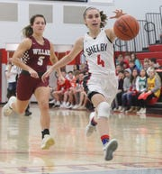 Shelby's Sophie Niese chases down a ball during the Lady Whippets double-overtime victory over Willard on Tuesday.