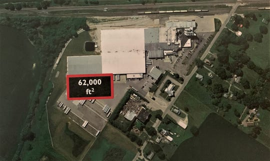 This aerial photograph of the Mennel Milling plant, 4136 Martel Road northeast of Caledonia, shows where the proposed 62,000-square foot warehouse will be located. The $4.5 million expansion project will result in the addition of 12 new jobs at the plant, according to Mennel officials.