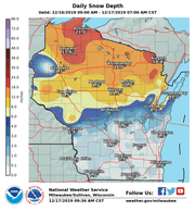 If you want snow for Christmas, you'll need to travel to northern Wisconsin.