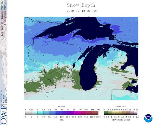 This snow depth map shows the southern third of Wisconsin is almost snow-free. With warmer temperatures coming and no storms on the horizon, a white Christmas for the southern part of the state is very unlikely, forecasters say.