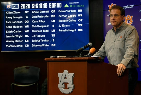 Auburn coach Gus Malzahn speaks at a press conference on signing day Wednesday, Dec. 18, 2019 in Auburn, Ala.