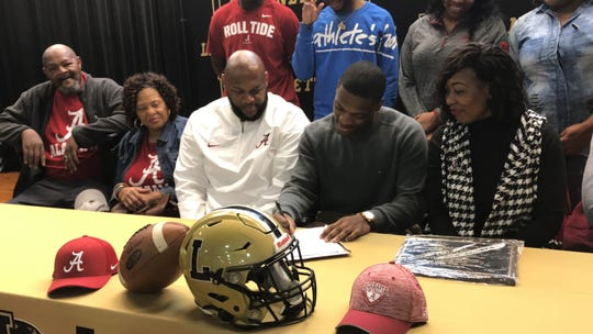 Lanett's Kristian Story signs his official letter of intent with the University of Alabama
