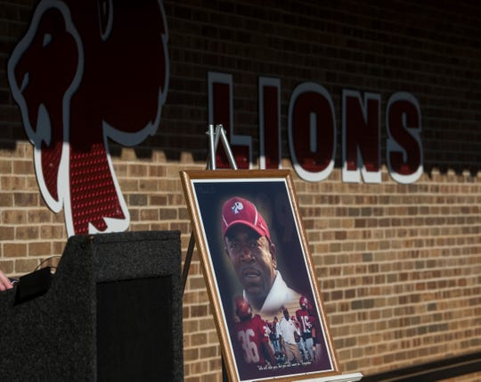 """A dedication of the Lo Pickett Fieldhouse at Prattville High School in Prattville, Ala., on Wednesday, Dec. 18, 2019. Lorenzo """"Lo"""" Pickett was a coach at Prattville High until he died of a heart attack in 2006 at the age of 40."""