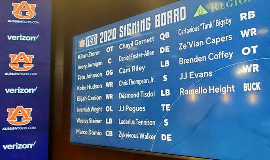 Auburn's 2020 signing board on Wednesday, Dec. 18, 2019.