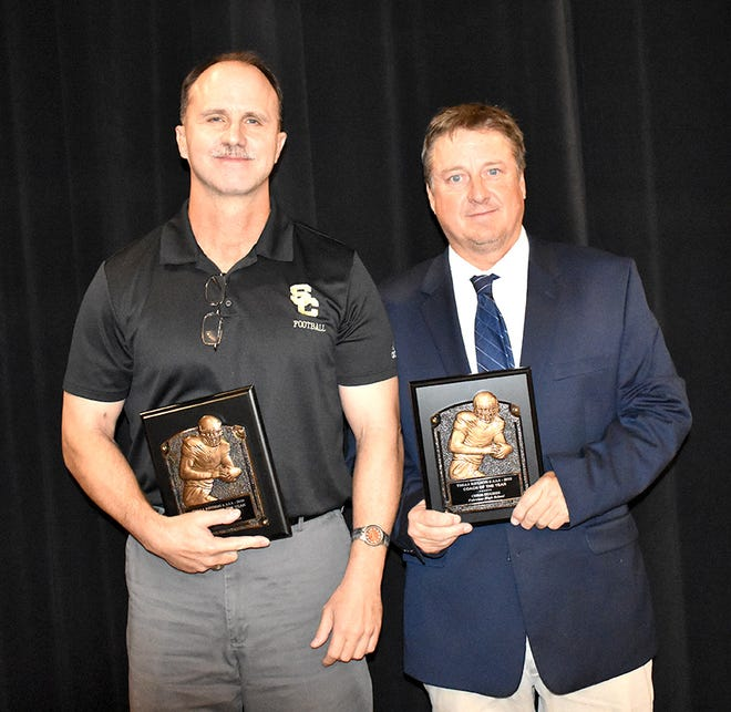 Fairview High head football coach, Chris Hughes (right) received the 2019 Region 6 AAA Coach of the Year award.  Stewart County's Tommy Rewis (left) received Asst. Coach of the Year.