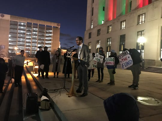 Metro Councilman Freddie O'Connell speaks at a Tuesday night protest with members of Nashville Organized for Action and Hope on the steps of the Metro Courthouse Tuesday night.