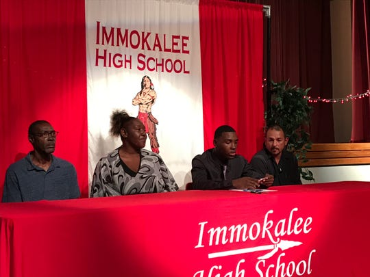 Immokalee High School defensive back Charles Toombs signed to play football at FAU on National Signing Day on Wednesday, Dec. 18, 2019.