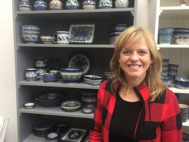 Erin Dow began her business in her former Gahanna home but now sells and ships Polish Pottery across the nation from her studio in Granville.