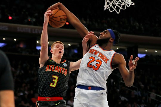 Mitchell Robinson, seen here blocking a shot against the Hawks' Kevin Huerter earlier this season, was not named to the NBA Rising Stars challenge.