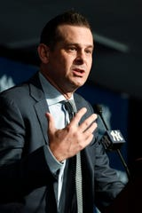 New York Yankees manager Aaron Boone speaks during a press conference announcing the signing of pitcher Gerrit Cole (not pictured) at Legends Club at Yankee Stadium.
