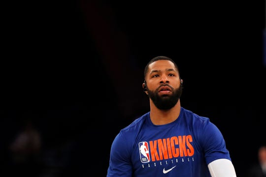 Dec 17, 2019; New York, NY, USA; New York Knicks forward Marcus Morris Sr. (13) warms up prior to a game against the Atlanta Hawks at Madison Square Garden.